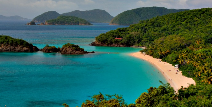 Trunk Bay nas Ilhas Virgens Americanas