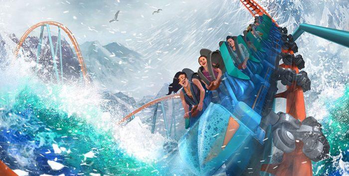 Foto da nova atração do SeaWorld, a montanha-russa Ice Breaker
